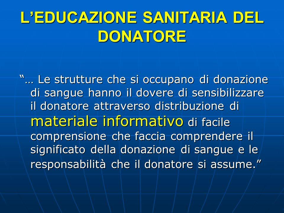 L'EDUCAZIONE SANITARIA DEL DONATORE