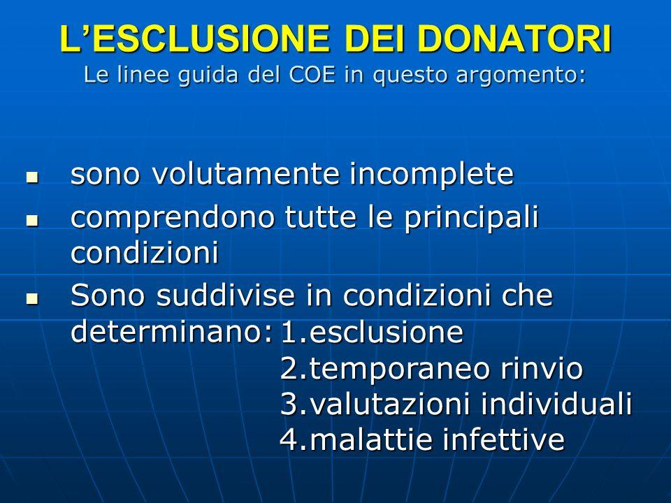 L'ESCLUSIONE DEI DONATORI Le linee guida del COE in questo argomento: