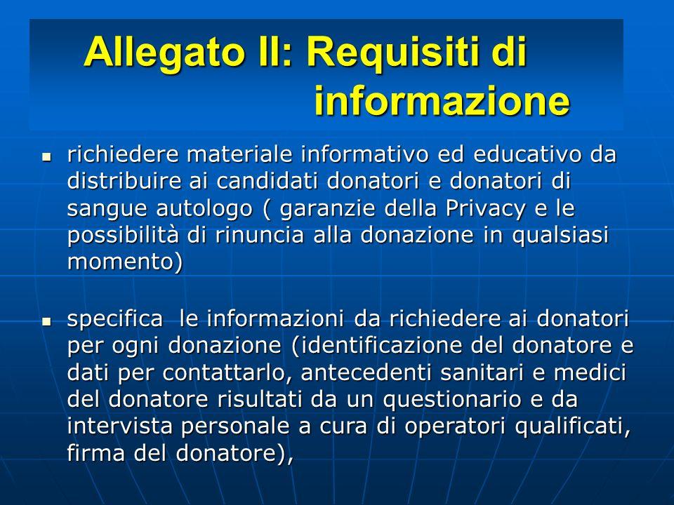 Allegato II: Requisiti di informazione