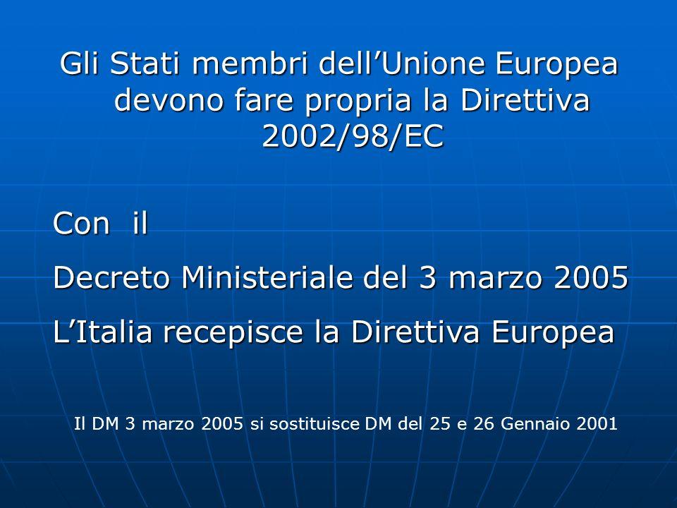 Il DM 3 marzo 2005 si sostituisce DM del 25 e 26 Gennaio 2001