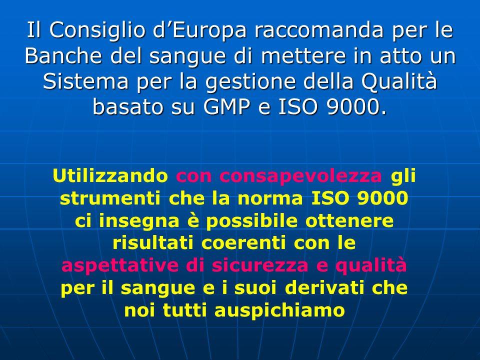 Il Consiglio d'Europa raccomanda per le Banche del sangue di mettere in atto un Sistema per la gestione della Qualità basato su GMP e ISO 9000.