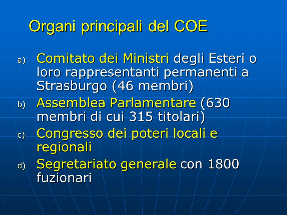 Organi principali del COE