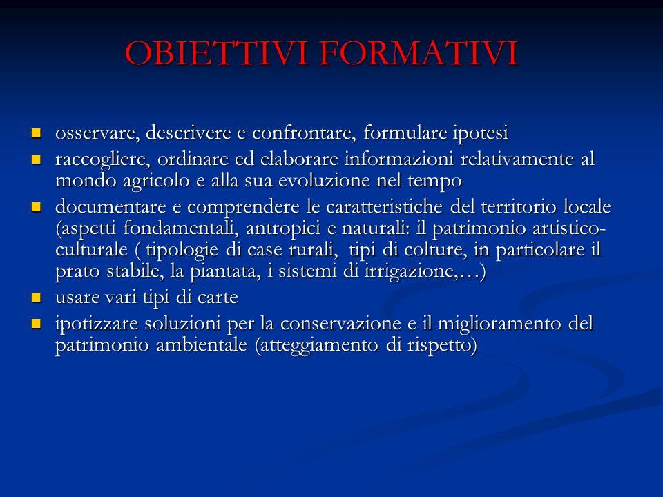 OBIETTIVI FORMATIVI osservare, descrivere e confrontare, formulare ipotesi.
