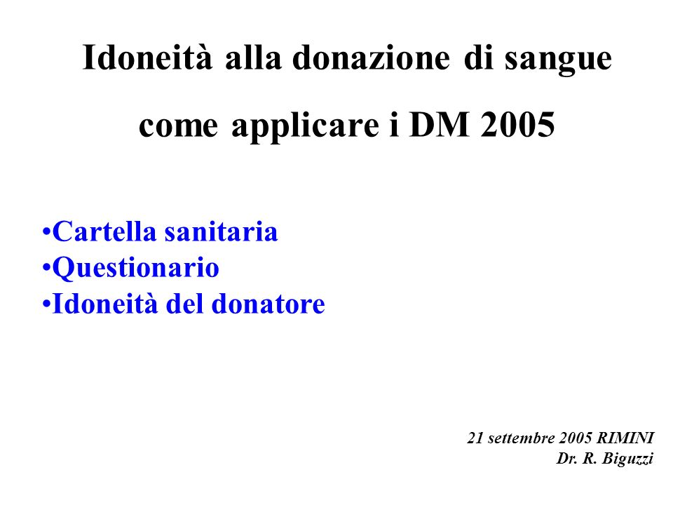 Idoneità alla donazione di sangue