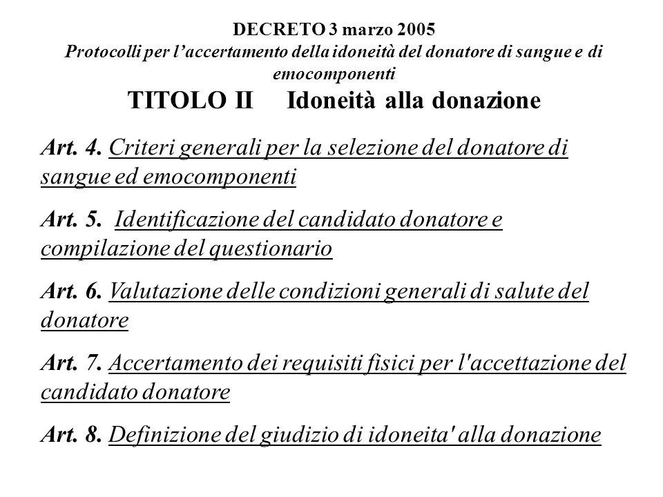 TITOLO II Idoneità alla donazione