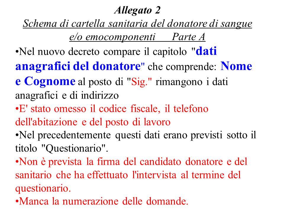 Allegato 2 Schema di cartella sanitaria del donatore di sangue e/o emocomponenti Parte A.