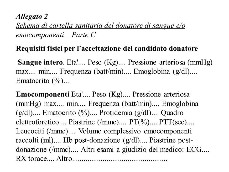 Allegato 2 Schema di cartella sanitaria del donatore di sangue e/o emocomponenti Parte C.