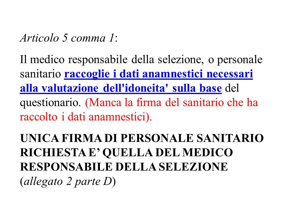Articolo 5 comma 1: