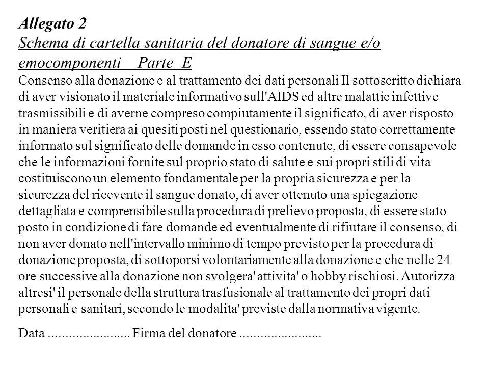 Allegato 2 Schema di cartella sanitaria del donatore di sangue e/o emocomponenti Parte E.