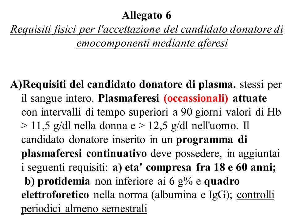 Allegato 6 Requisiti fisici per l accettazione del candidato donatore di emocomponenti mediante aferesi.