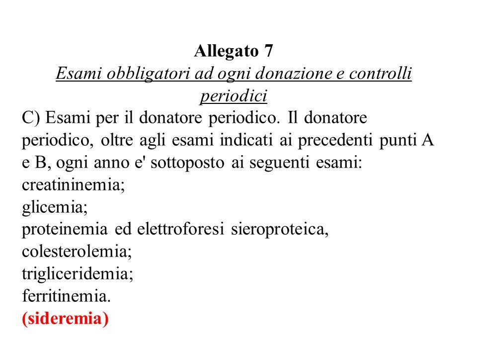 Esami obbligatori ad ogni donazione e controlli periodici