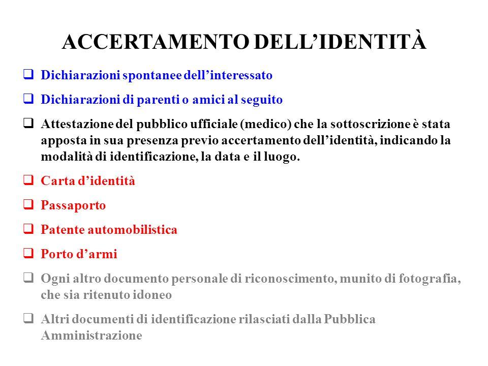 ACCERTAMENTO DELL'IDENTITÀ