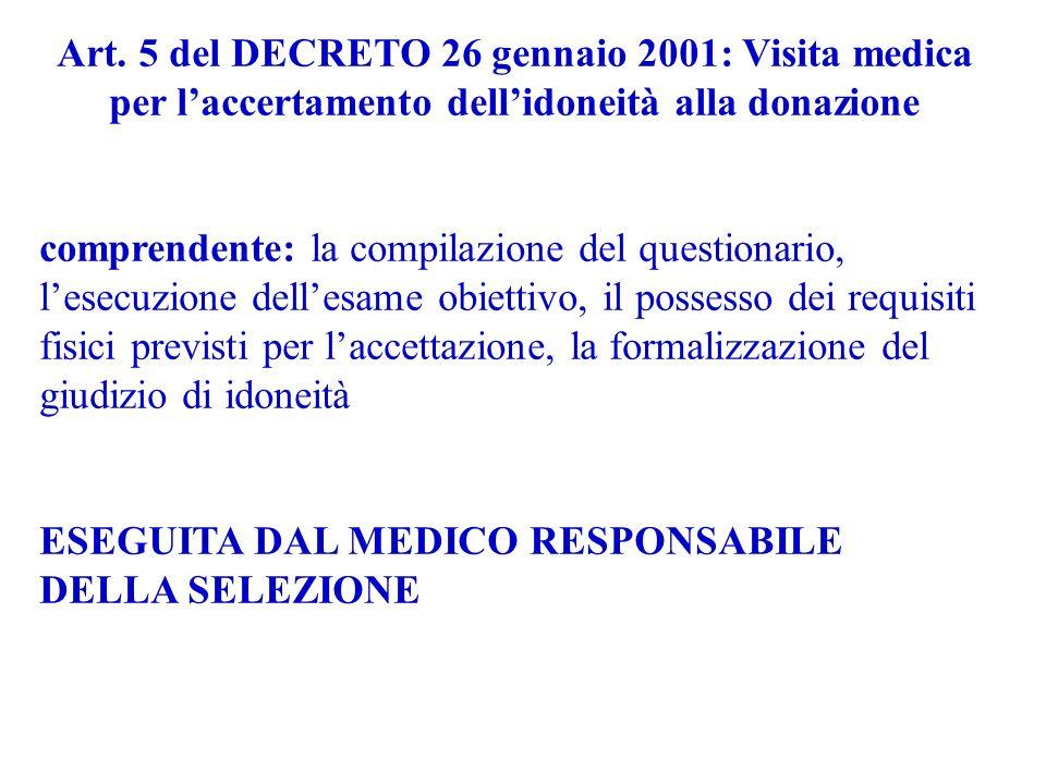 Art. 5 del DECRETO 26 gennaio 2001: Visita medica per l'accertamento dell'idoneità alla donazione