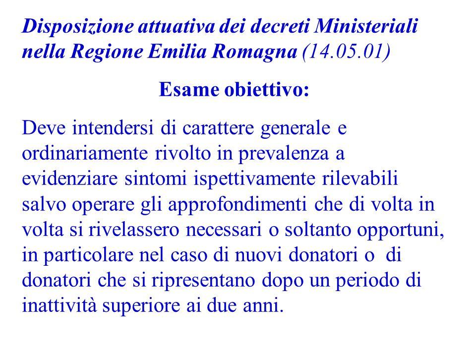 Disposizione attuativa dei decreti Ministeriali nella Regione Emilia Romagna (14.05.01)