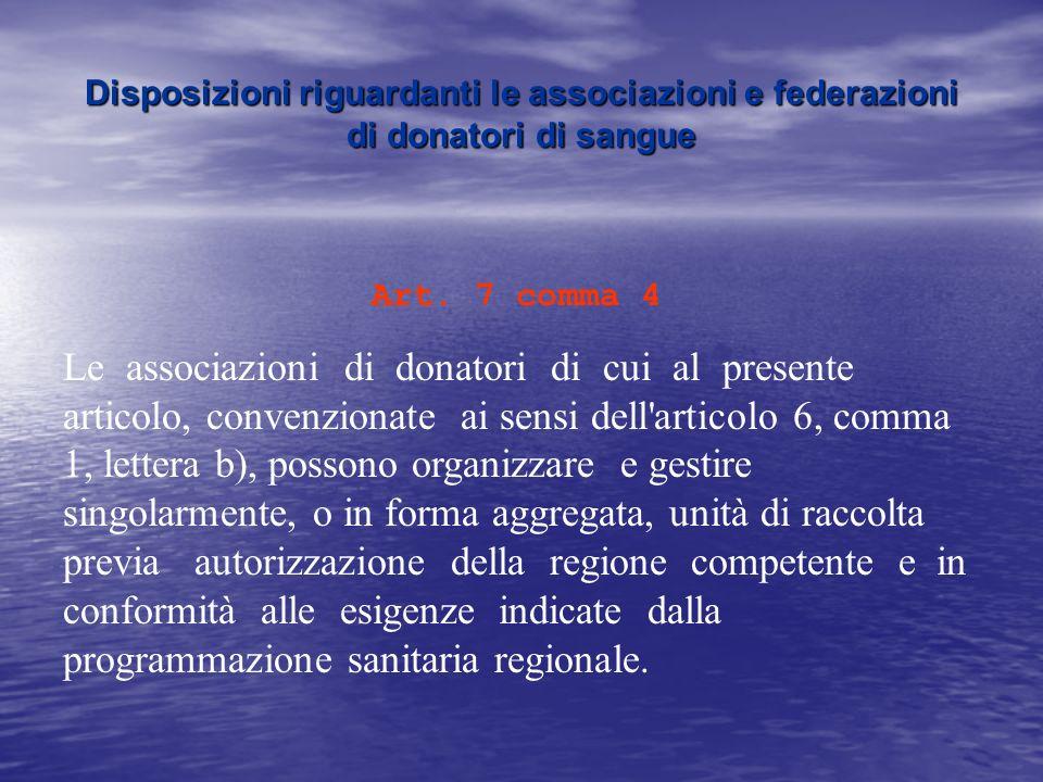 Disposizioni riguardanti le associazioni e federazioni di donatori di sangue
