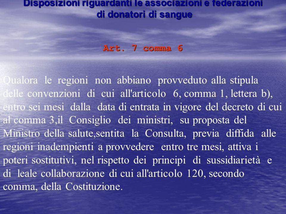 Disposizioni riguardanti le associazioni e federazioni di donatori di sangue Art. 7 comma 6