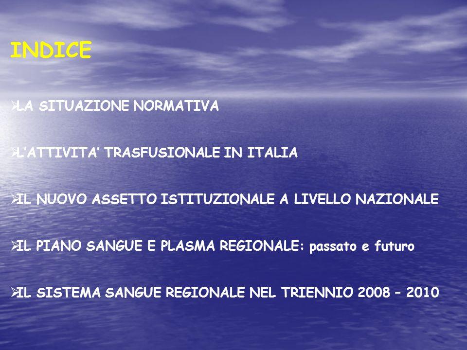 INDICE LA SITUAZIONE NORMATIVA L'ATTIVITA' TRASFUSIONALE IN ITALIA