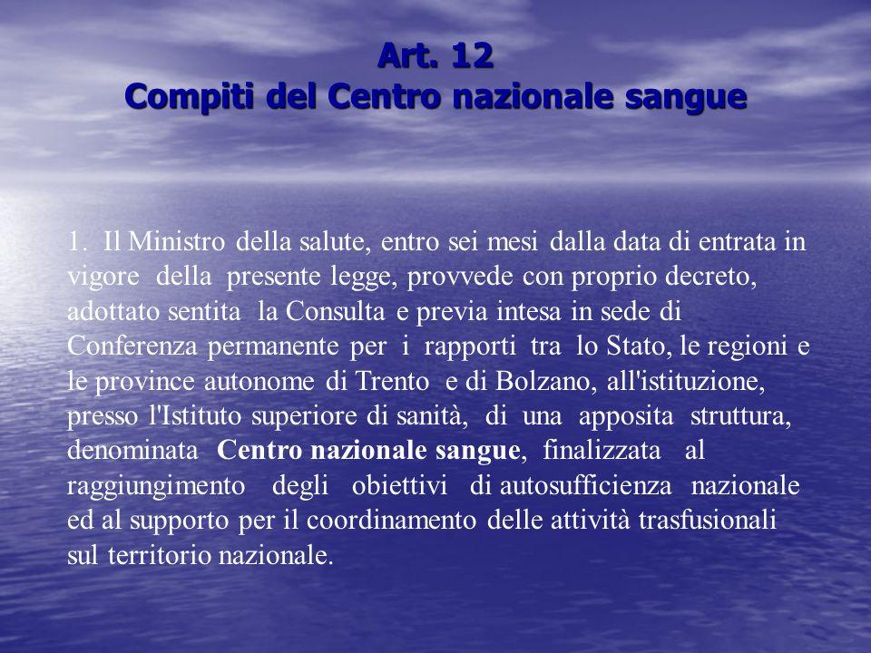 Art. 12 Compiti del Centro nazionale sangue