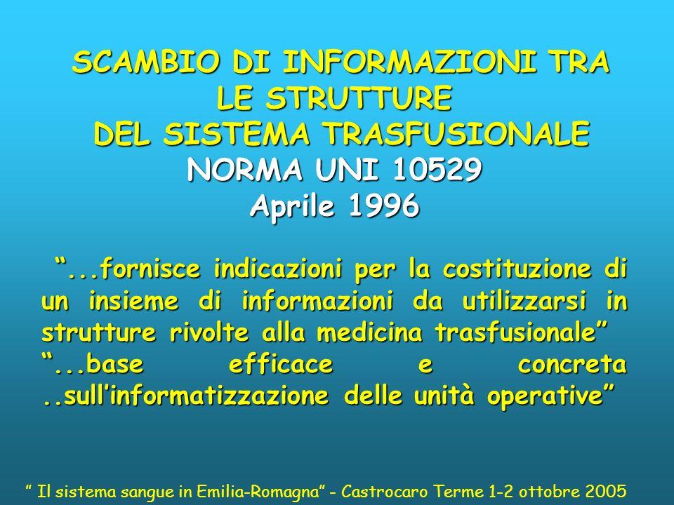 SCAMBIO DI INFORMAZIONI TRA LE STRUTTURE DEL SISTEMA TRASFUSIONALE
