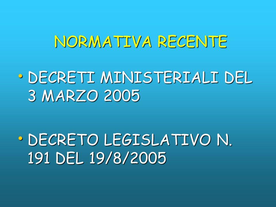 NORMATIVA RECENTE DECRETI MINISTERIALI DEL 3 MARZO 2005 DECRETO LEGISLATIVO N. 191 DEL 19/8/2005