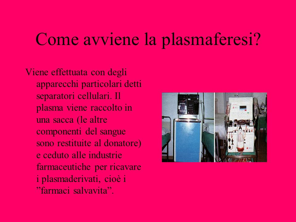 Come avviene la plasmaferesi