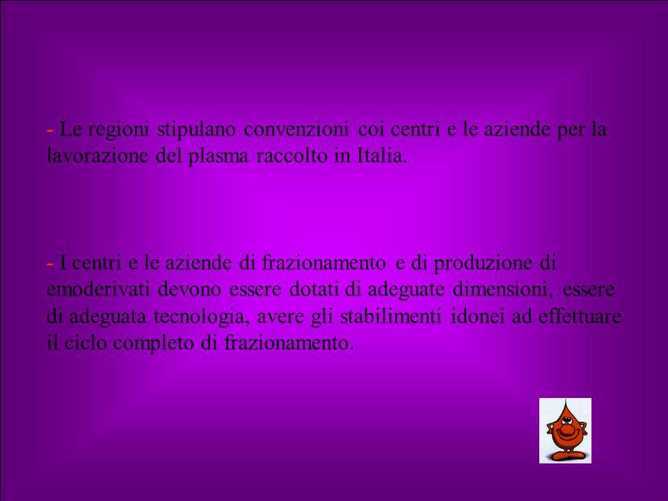 - Le regioni stipulano convenzioni coi centri e le aziende per la lavorazione del plasma raccolto in Italia.