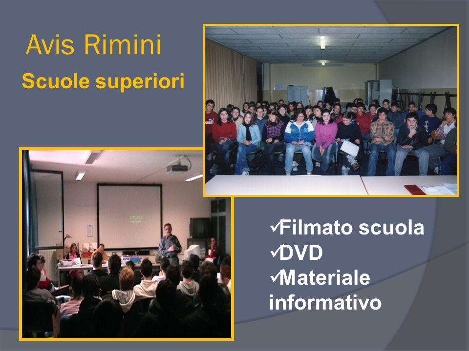 Avis Rimini Scuole superiori Filmato scuola DVD Materiale informativo