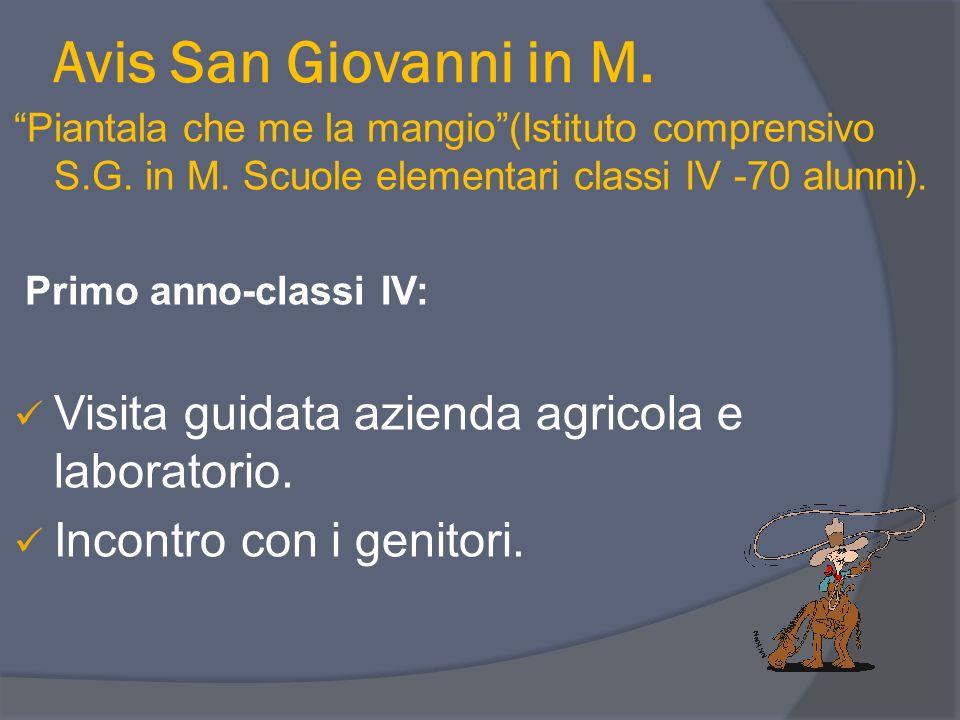 Avis San Giovanni in M. Visita guidata azienda agricola e laboratorio.