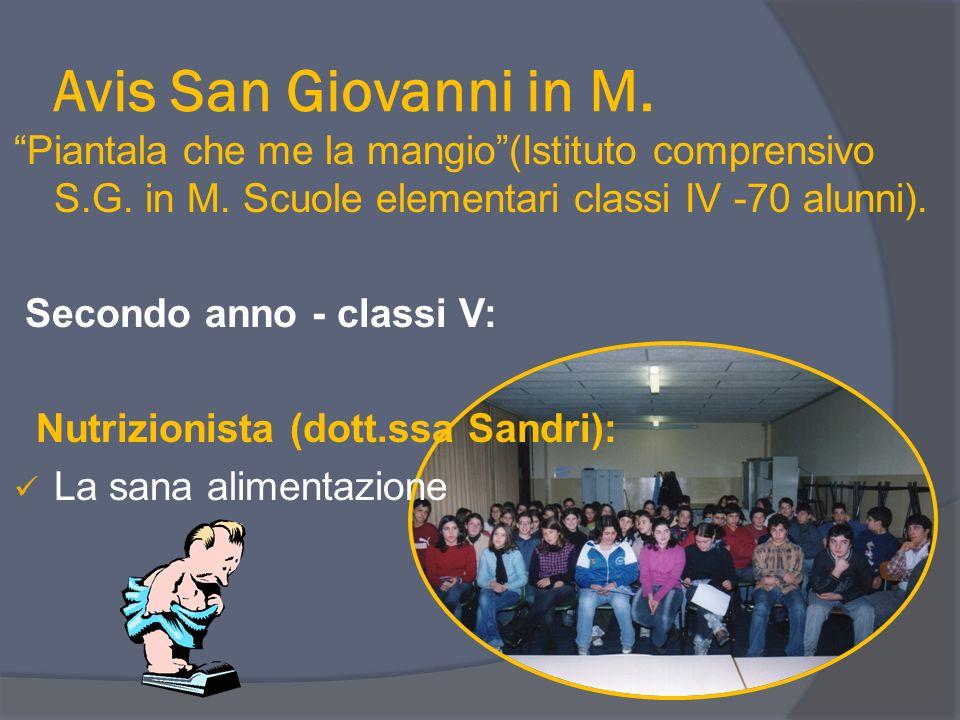 Avis San Giovanni in M. Piantala che me la mangio (Istituto comprensivo S.G. in M. Scuole elementari classi IV -70 alunni).