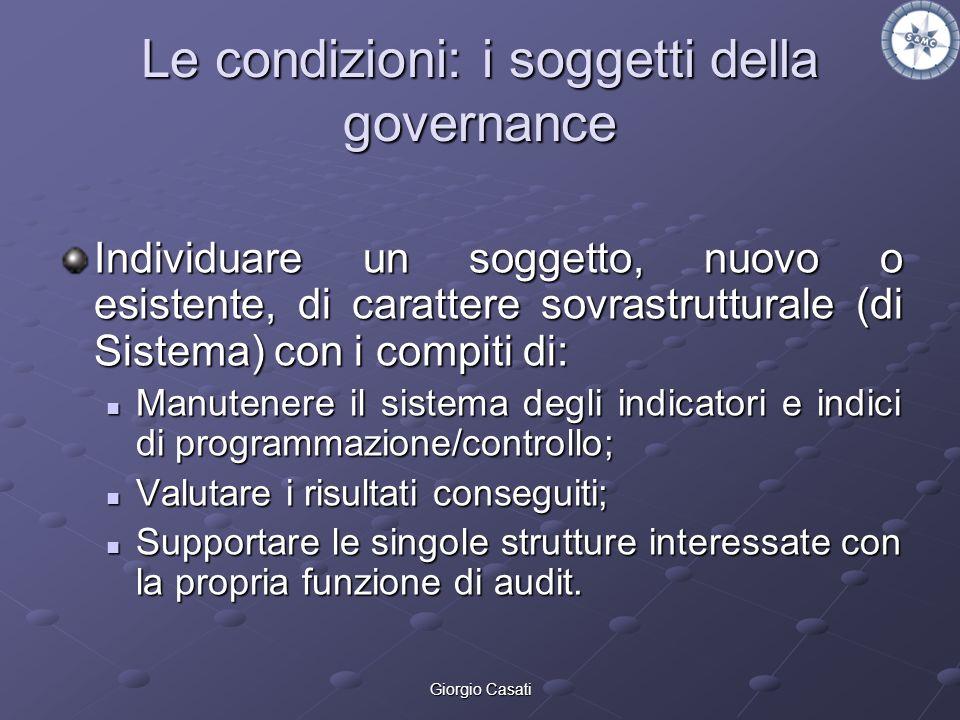 Le condizioni: i soggetti della governance
