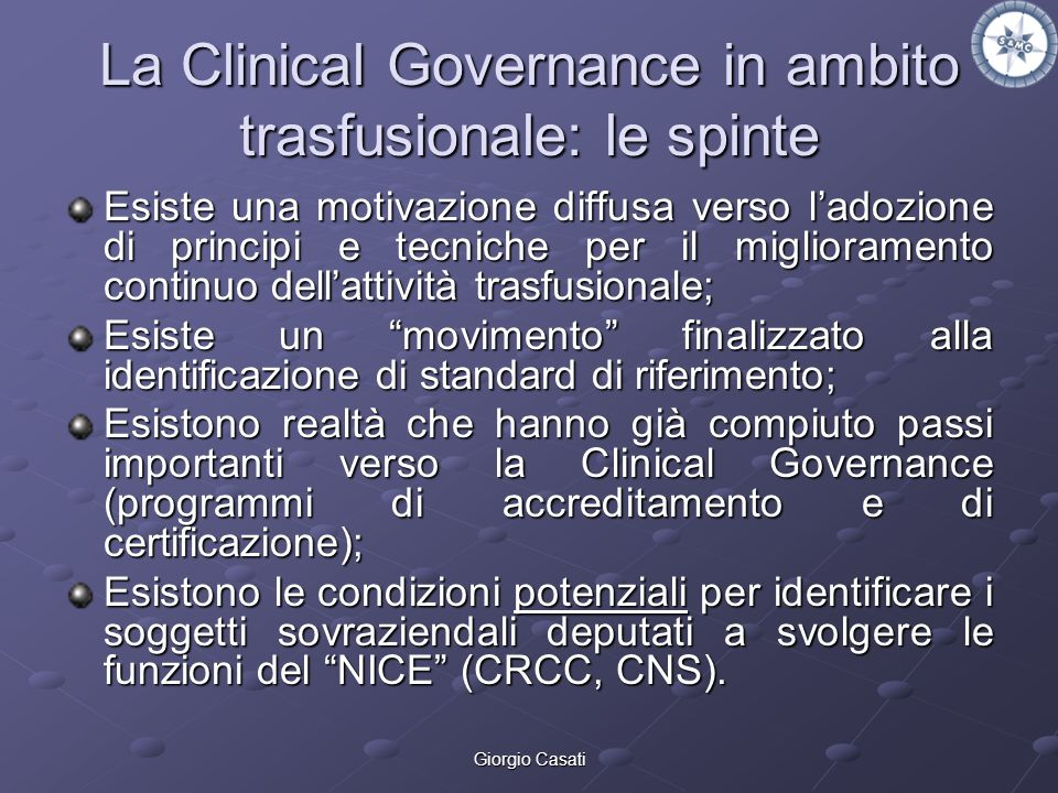 La Clinical Governance in ambito trasfusionale: le spinte