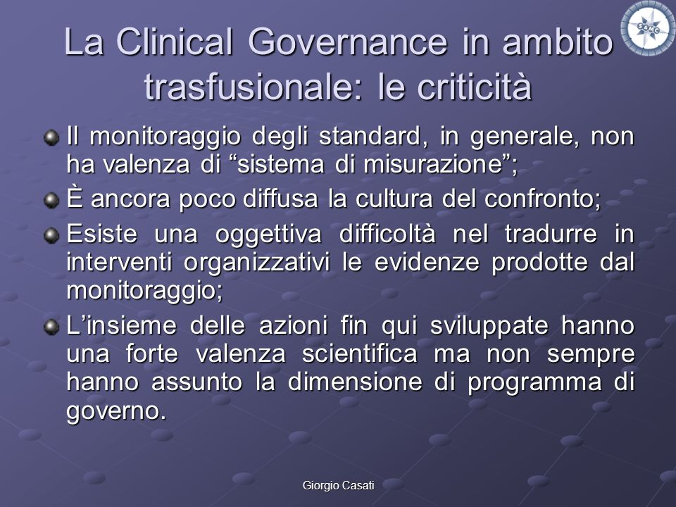 La Clinical Governance in ambito trasfusionale: le criticità