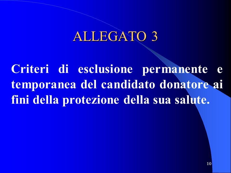 ALLEGATO 3 Criteri di esclusione permanente e temporanea del candidato donatore ai fini della protezione della sua salute.