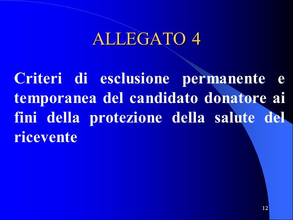 ALLEGATO 4 Criteri di esclusione permanente e temporanea del candidato donatore ai fini della protezione della salute del ricevente.