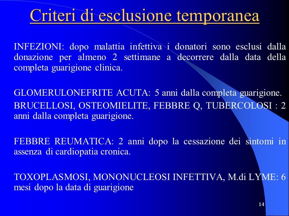 Criteri di esclusione temporanea