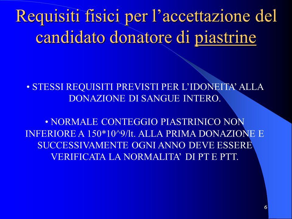 Requisiti fisici per l'accettazione del candidato donatore di piastrine