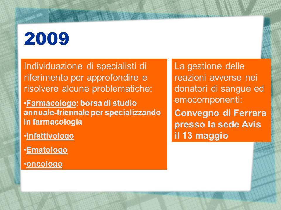 2009 Individuazione di specialisti di riferimento per approfondire e risolvere alcune problematiche: