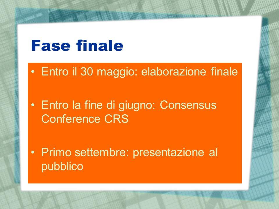Fase finale Entro il 30 maggio: elaborazione finale