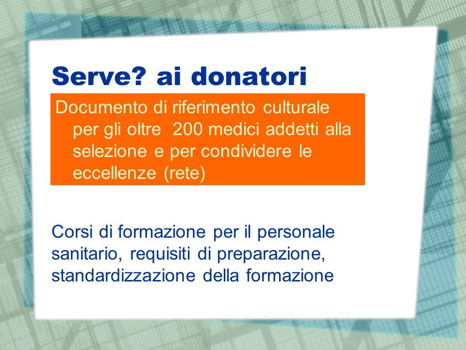 Serve ai donatori Documento di riferimento culturale per gli oltre 200 medici addetti alla selezione e per condividere le eccellenze (rete)