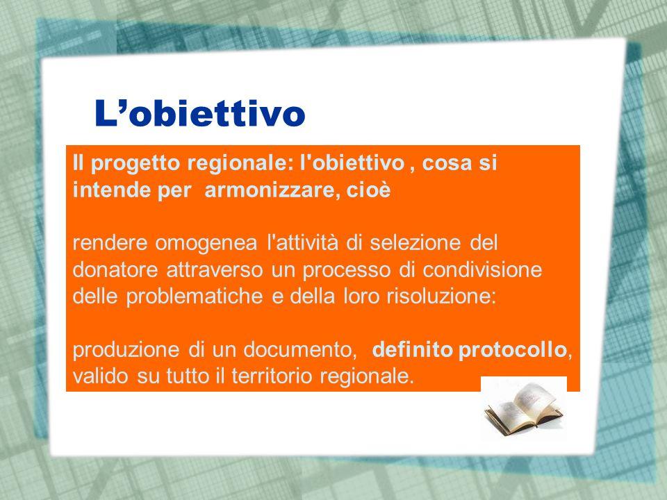 L'obiettivo Il progetto regionale: l obiettivo , cosa si intende per armonizzare, cioè.