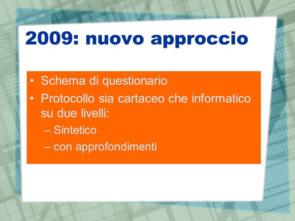 2009: nuovo approccio Schema di questionario