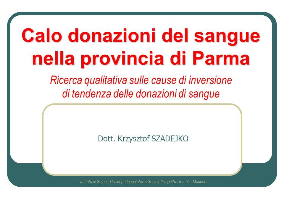 Calo donazioni del sangue nella provincia di Parma