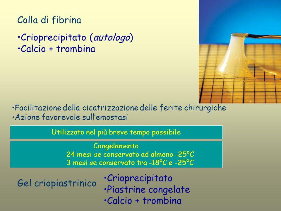 Crioprecipitato (autologo) Calcio + trombina