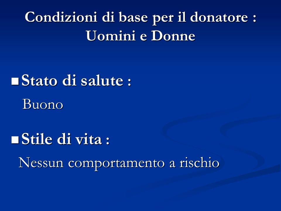 Condizioni di base per il donatore : Uomini e Donne