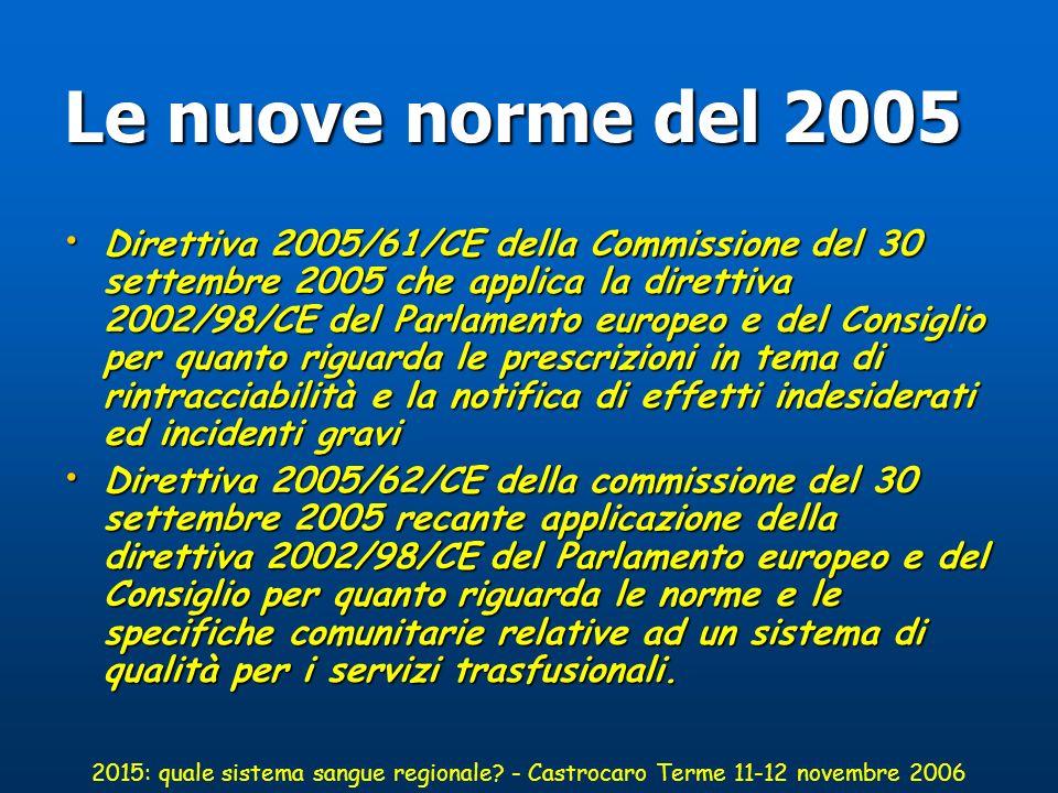 Le nuove norme del 2005