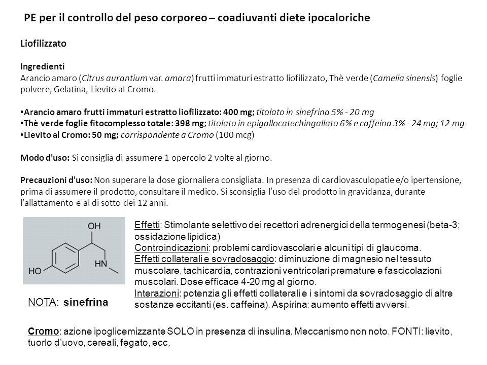 PE per il controllo del peso corporeo – coadiuvanti diete ipocaloriche