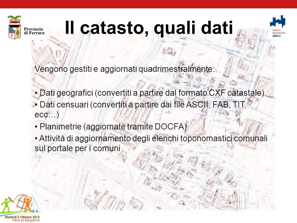 Il catasto, quali dati Vengono gestiti e aggiornati quadrimestralmente: Dati geografici (convertiti a partire dal formato CXF catastale)