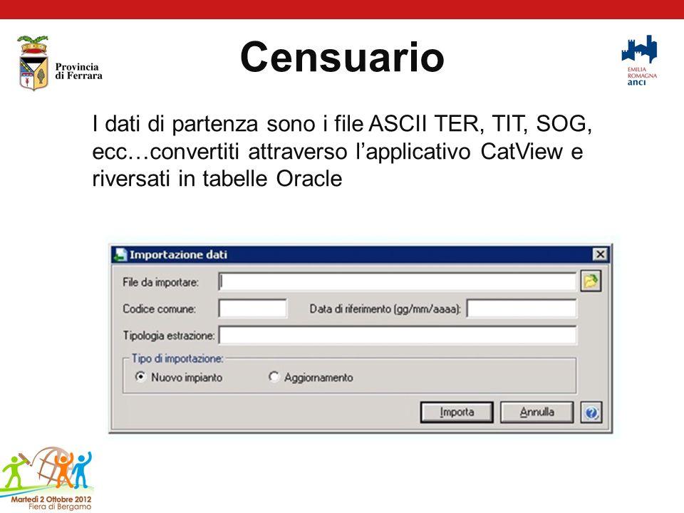 Censuario I dati di partenza sono i file ASCII TER, TIT, SOG, ecc…convertiti attraverso l'applicativo CatView e riversati in tabelle Oracle.