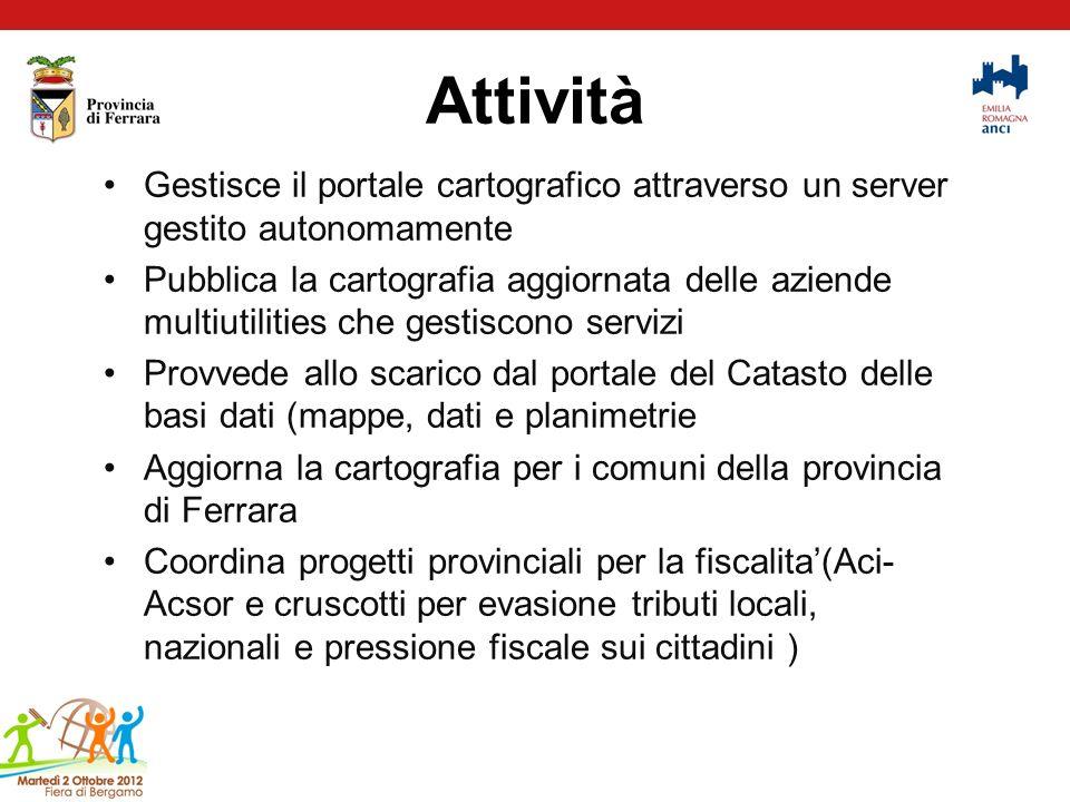 Attività Gestisce il portale cartografico attraverso un server gestito autonomamente.