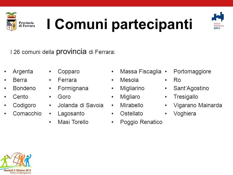 I Comuni partecipanti I 26 comuni della provincia di Ferrara: Argenta